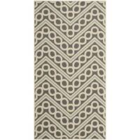 Safavieh Hampton Indoor/ Outdoor Stain Resistant Dark Grey/ Ivory Area Rug - 4' x 6'