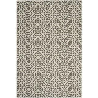 Safavieh Hampton Indoor/ Outdoor Stain Resistant Dark Grey/ Ivory Area Rug (6'7 x 9'6)