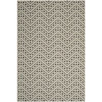 "Safavieh Hampton Indoor/ Outdoor Stain Resistant Dark Grey/ Ivory Area Rug - 6'7"" x 9'6"""