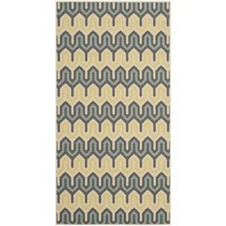Safavieh Hampton Indoor/ Outdoor Stain Resistant Green/ Light Blue Area Rug (2'7 x 5')