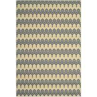 Safavieh Hampton Indoor/ Outdoor Stain Resistant Green/ Light Blue Area Rug - 6'7 x 9'6