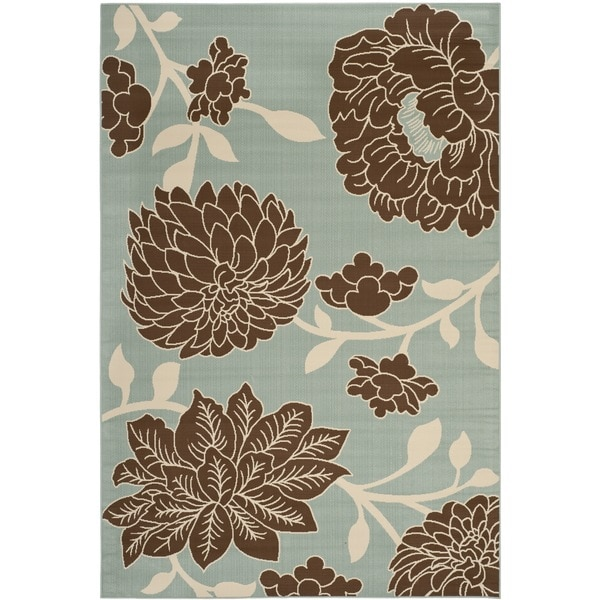 Safavieh Hampton Indoor/ Outdoor Stain Resistant Light Blue/ Brown Area Rug (6'7 x 9'6)