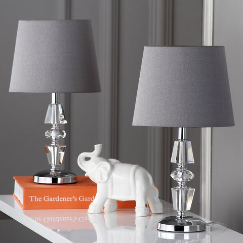 "Safavieh Lighting 15-inch Crescendo Grey Shade Tiered Crystal Table Lamp (Set of 2) - 9"" x 9"" x 16"""