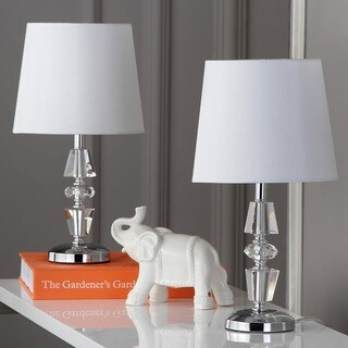 Safavieh Lighting 15-inch Crescendo White Shade Tiered Crystal Table Lamp (Set of 2)