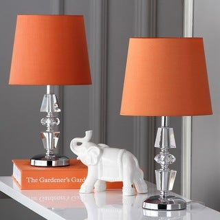 Safavieh Lighting 15-inch Crescendo Orange Shade Tiered Crystal Table Lamp (Set of 2)