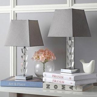 Safavieh Lighting 17.25-inch Avalon Grey Shade Deco Crystal Table Lamp (Set of 2)