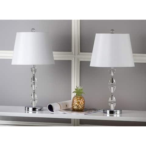 """Safavieh Lighting 21-inch Deco White Shade Prisms Crystal Table Lamp (Set of 2) - 12""""x12""""x24.5"""""""
