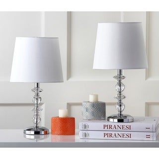 Safavieh Lighting 15-inch Derry White Shade Stacked Crystal Orb Table Lamp