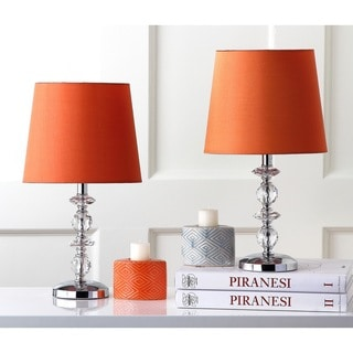 Safavieh Lighting 15-inch Derry Orange Shade Stacked Crystal Orb Table Lamp