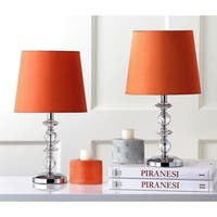 Safavieh Lighting 15-inch Derry Orange Shade Stacked Crystal Orb Table Lamp (Set of 2)