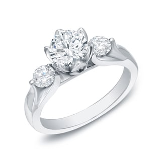 Auriya 14k Gold 1 3/4ct TDW Certified 3-Stone Diamond Engagement Ring