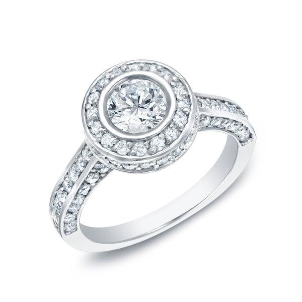 Auriya 14k Gold 1 1/2ct TDW Certified Bezel Set Diamond Engagement Ring