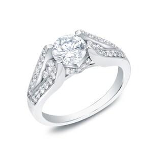 Auriya 14k Gold 1 3/4ct TDW Certified Diamond Engagement Ring (H-I, SI1-SI2)