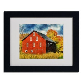 Lois Bryan 'Red Barn In Autumn' Framed Matted Art