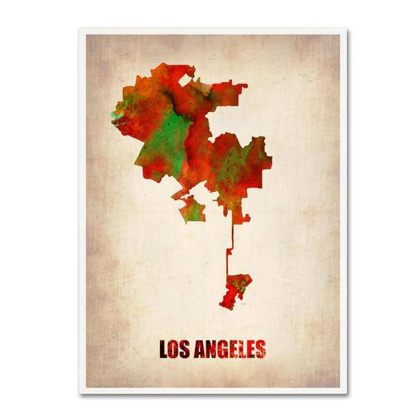 Naxart 'Los Angeles Watercolor Map' Canvas Art