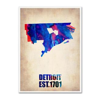 Naxart 'Detroit Watercolor Map' Canvas Art