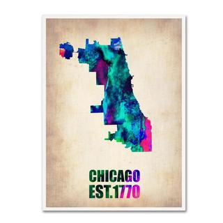 Naxart 'Chicago Watercolor Map' Canvas Art