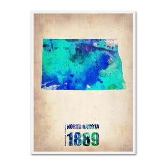 Naxart 'North Dakota Watercolor Map' Canvas Art