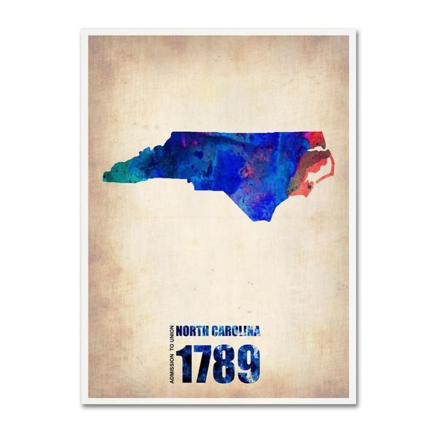 Naxart 'North Carolina Watercolor Map' Canvas Art
