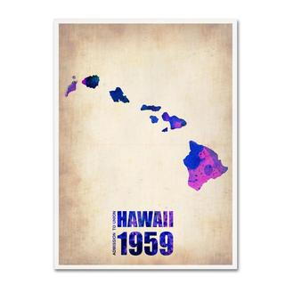 Naxart 'Hawaii Watercolor Map' Canvas Art