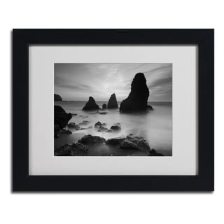 Moises Levy 'Rodeo Beach I Black and White' Framed Matted Art
