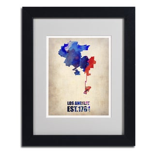 Naxart 'Los Angeles Watercolor Map 2' Framed Matted Art