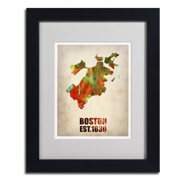 Naxart 'Boston Watercolor Map' Framed Matted Art