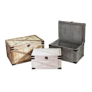 Set of 3 Distressed Wood Chests (China)