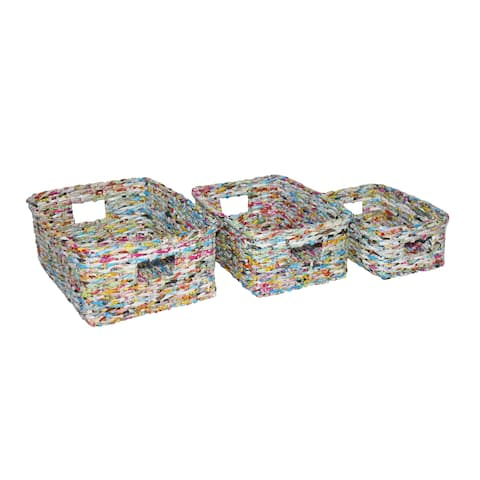 Handmade Multicolor Recycle Waste-Bin, Set of 12
