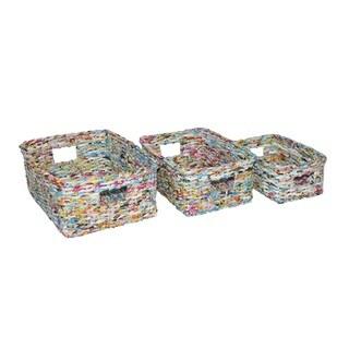 Handmade Multicolor Recycle Waste-Bin, Set of 12