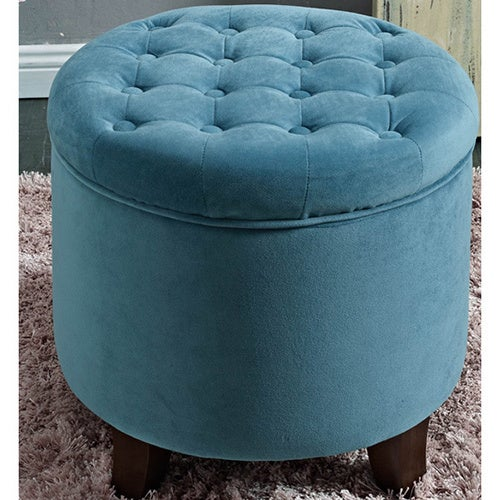 HomePop Large Round ButtonTufted Storage OttomanFree Shipping