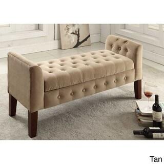HomePop Tufted Velvet Storage Bench / Settee (Option: Velvet Tifted Tan)