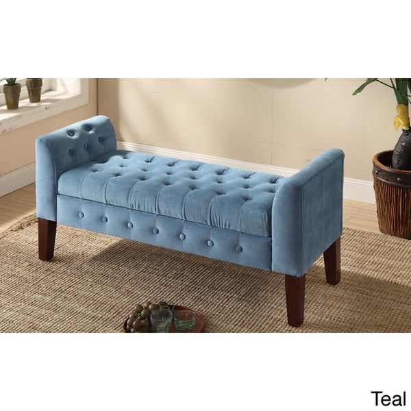Homepop velvet tufted storage bench settee free shipping today 15662419 Velvet storage bench