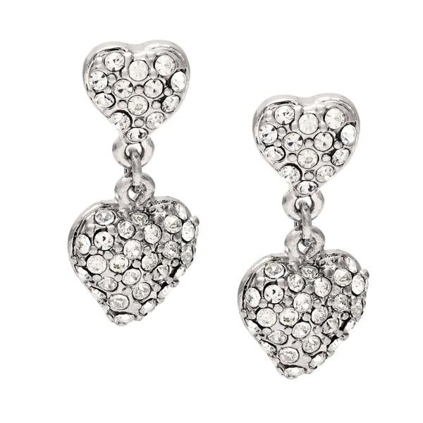 63a4e1b72 Shop Carolee Silvertone Pave Crystal Heart Drop Earrings - Free ...