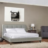 Clay Alder Home Mildred Grey Linen Platform Bed w/ Wooden Slates