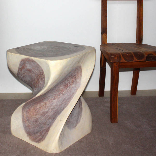 Big twist 16 inch square x 20 inch high agate grey oil for Coffee tables 16 inches high