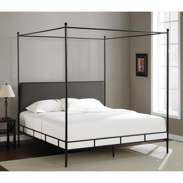 Jasper Laine Lauren Grey King Size Metal Canopy Bed