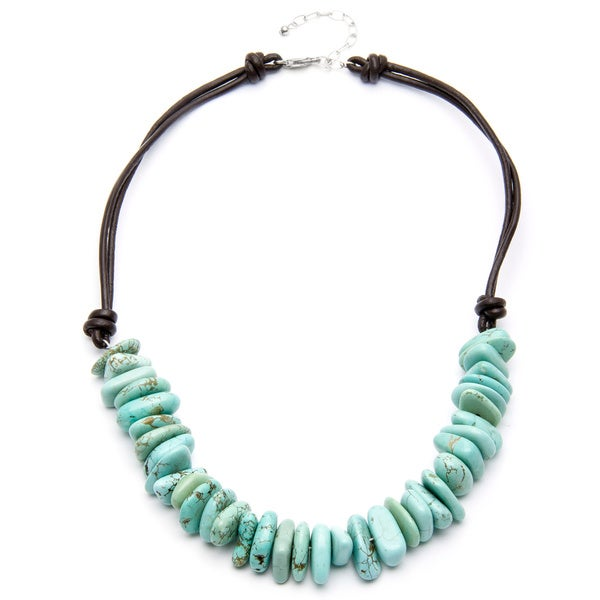Sterling Silver Turquoise Howlite Bead Necklace