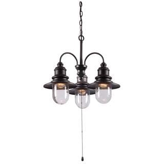 Design Craft Visp Blackened Oil Rubbed Bronze 3-light Outdoor Chandelier