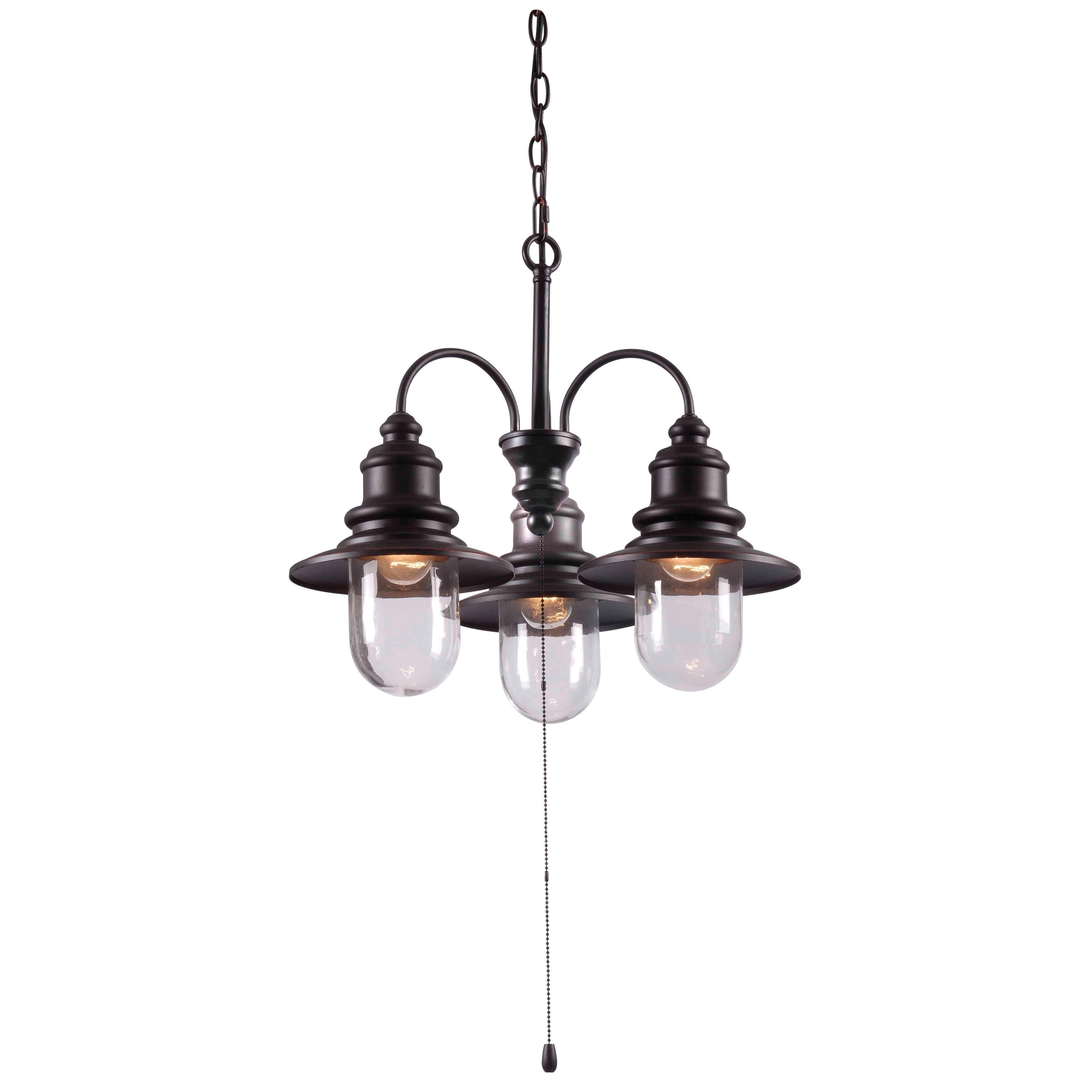 Visp Blackened Oil Rubbed Bronze 3 Light Outdoor Chandelier