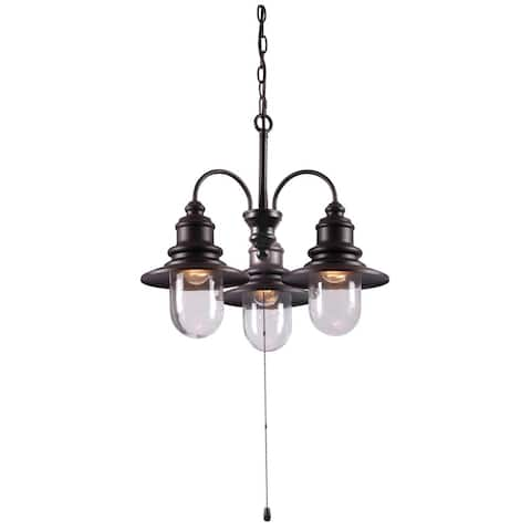 Visp Blackened Oil Rubbed Bronze 3-light Outdoor Chandelier