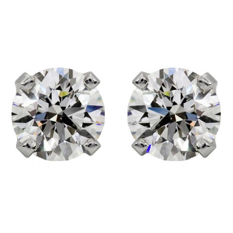 Montebello 14KT Gold 5/8ct TDW Round-cut Certified Diamond Stud Earrings - White