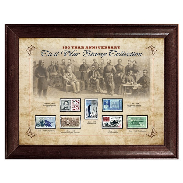 American Coin Treasures 150 Year Anniversary Framed Civil War Stamp Collection