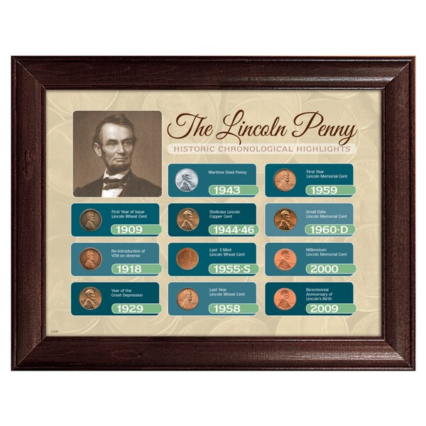 American Coin Treasures Framed Lincoln Penny Historical Chronological Highlights