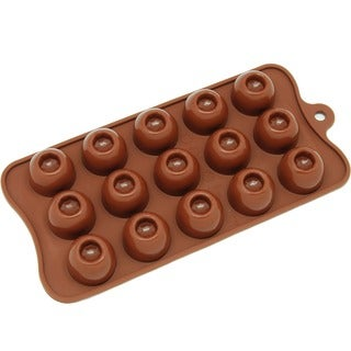 Freshware Brown 15-cavity Round Chocolate and Candy Silicone Mold