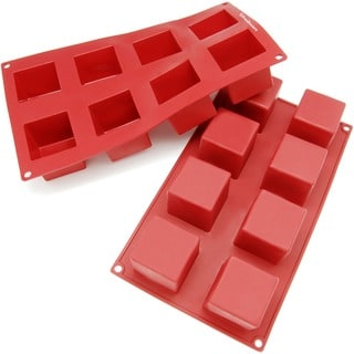 Freshware Red 8-Cavity Silicone Square Cube Brownie, Corn Bread and Muffin Molds (Pack of 2)