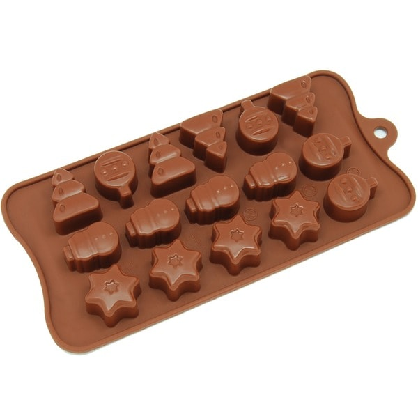 Freshware Brown 16-Cavity Christmas Tree, Ornament and Star Chocolate, Candy and Clay Silicone Mold