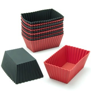 Freshware Red/ Black Rectangular Silicone Reusable Baking Cups (Case of 12)