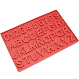 Freshware Red 37-cavity Silicone Alphabet Letter and Number Chocolate, Candy and Clay Mold