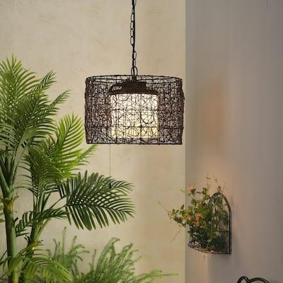 Carbon Loft Adams Blackened Bronze 1-light Outdoor Pendant